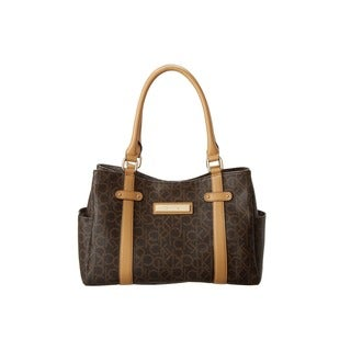 Calvin Klein Hudson Brown/Khaki/Camel Faux Leather Satchel Handbag