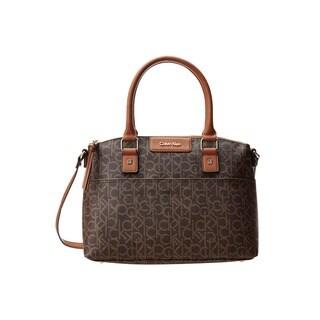 Calvin Klein Hudson CK Monogram Brown/Khaki Satchel Handbag