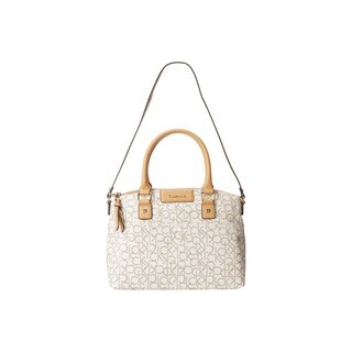 Calvin Klein Hudson CK Monogram Almond/Khaki/Camel Faux Leather Satchel Handbag