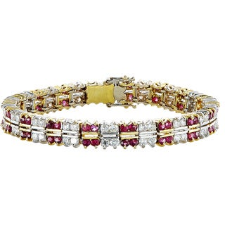 18k Yellow Gold 3ct TDW Diamond and Ruby Estate Bracelet (G-H, VS1-VS2)