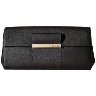 Calvin Klein Saffiano Black Leather Clutch