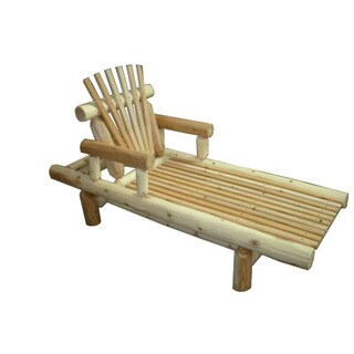 Unfinished White Cedar Log Rustic Adjustable Chaise Lounge