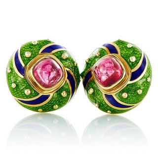 18K Yellow Gold Multicolor Enamel Pink Tourmaline Round Clip Earrings