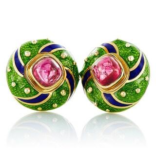 18K Yellow Gold Multicolor Enamel Pink Tourmaline Round Clip Earrings