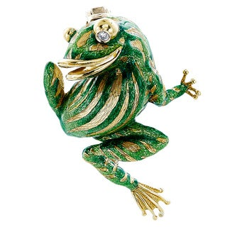 18k Yellow Gold 1/10ct TDW Green Enameled Estate Frog Brooch (H-I, SI1-SI2)