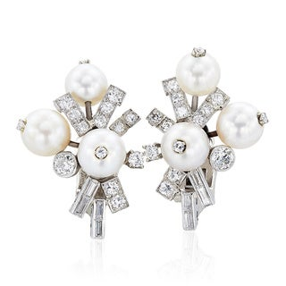 Seaman Schepps Platinum and Gold 2 1/4ct TDW Antique Pearl Earrings (G-H, VS1-VS2)
