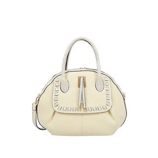 Mellow World Maya Beige Faux Suede Seashell Shape Satchel Handbag