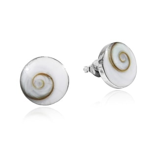 Round 13mm Swirl Shiva Shell Sterlng Silver Stud Earrings (Thailand)