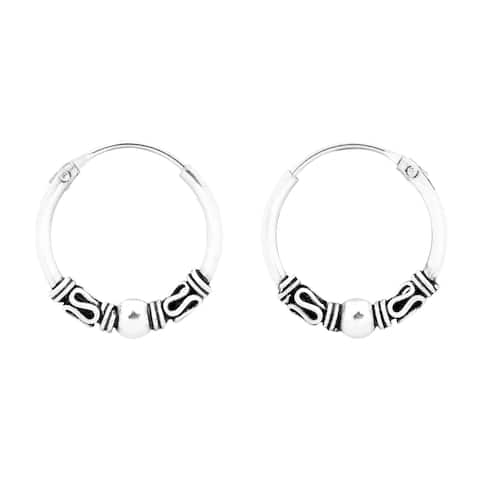 d75c16840 Handmade Vintage Balinese Bead 14mm Hoop Sterling Silver Earrings (Thailand)