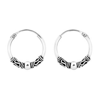 Handmade Vintage Balinese Bead 14mm Hoop Sterling Silver Earrings (Thailand)