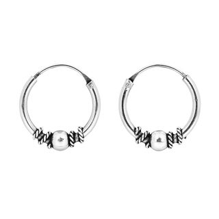 Handmade Classic Twist Bali Bead 12mm Hoop Sterling Silver Earrings (Thailand)