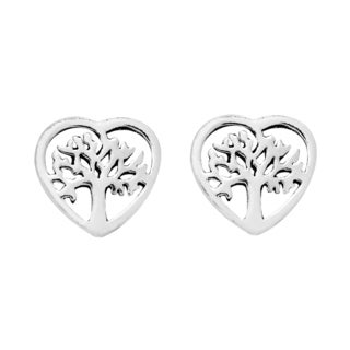 Handmade True Heart Cover Tree of Life Sterling Silver Stud Earrings (Thailand)