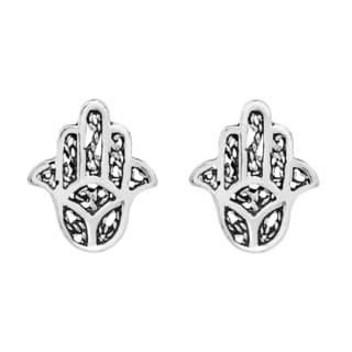 Mini Hamsa Fatima Hand Sterling Silver Stud Earrings (Thailand)