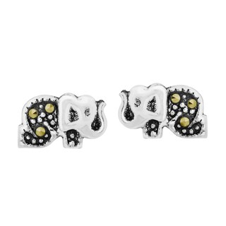 Handmade Cute Elephant Marcasite Style Sterling Silver Stud Earrings (Thailand)