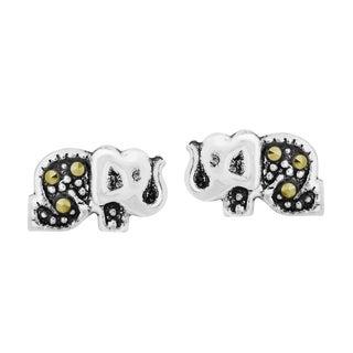 Handmade Cute Elephant Marcasite Style Sterling Silver Stud Earrings (Thailand)