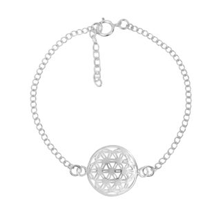 Faithful Flower of Life Sterling Silver Chain Link Bracelet (Thailand)