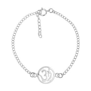 Spiritual Om or Aum Symbol Sterling Silver Link Bracelet (Thailand)