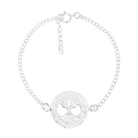 Handmade Immortal Tree of Life Celtic Sterling Silver Chain Link Bracelet (Thailand)