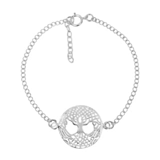Immortal Tree of Life Celtic Sterling Silver Chain Link Bracelet (Thailand)