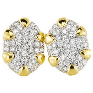 18k Yellow Gold 6ct TDW Pave Diamonds 1960's Clip Earrings (G-H, VS1-VS2)