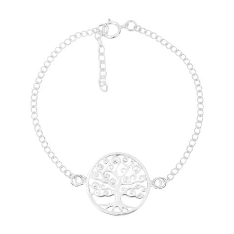Handmade Bloom Swirl Tree of Life Sterling Silver Chain Link Bracelet (Thailand)