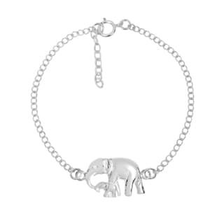 Graceful Mother & Baby Elephant Sterling Silver Chain Link Bracelet (Thailand)