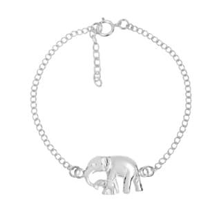 Handmade Graceful Mother & Baby Elephant Sterling Silver Chain Link Bracelet (Thailand)
