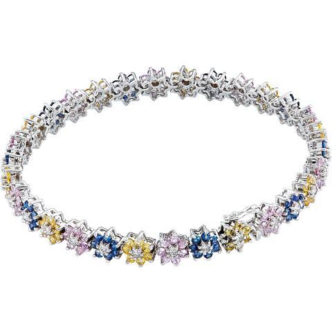 18k White Gold 1 1/2ct TDW Diamonds and Sapphires Flower Bracelet (H-I, SI1-SI2)