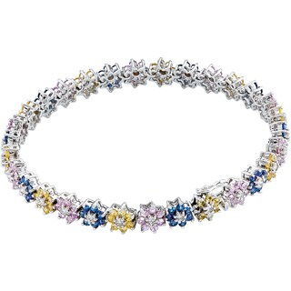 18k White Gold 1 1/2ct TDW Diamonds and Sapphires Flower Bracelet (H-I, SI1-SI2)