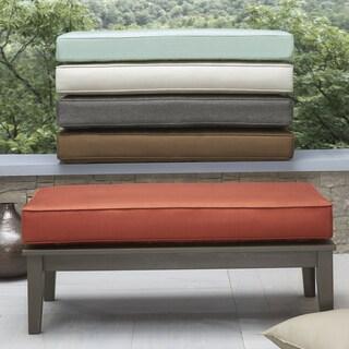 Yasawa Wood Grey Patio Cushioned Rectangular Coffee Table Ottoman by NAPA LIVING