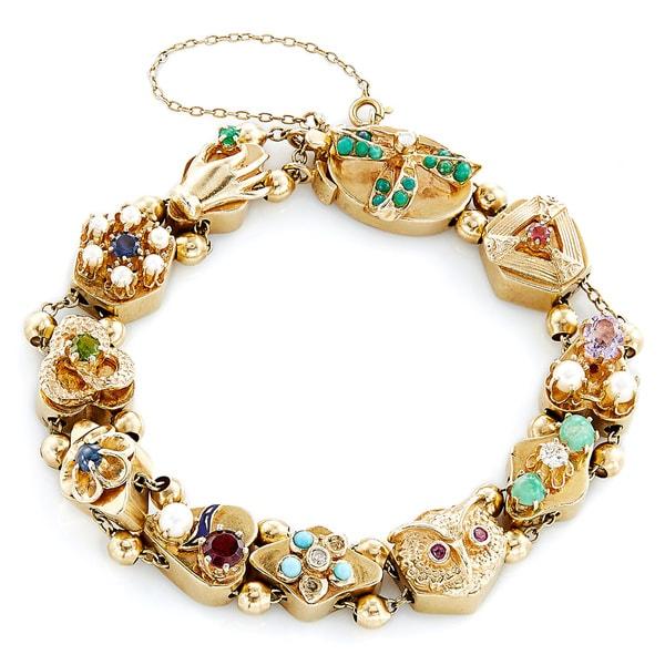 Slide Charms For Bracelets: Shop 14k Yellow Gold Antique Charm Estate Slide Bracelet