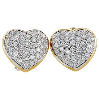 18K Two-tone Gold 4ct TDW Pave Face Heart Clip Earrings (G-H, VS1-VS2)