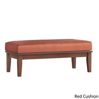 Yasawa Wood Brown Patio Cushioned Rectangular Coffee Table Ottoman by NAPA LIVING