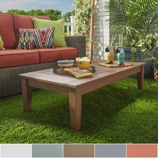 Yasawa Wood Brown Patio Cushioned Rectangular Coffee Table Ottoman by NAPA LIVING