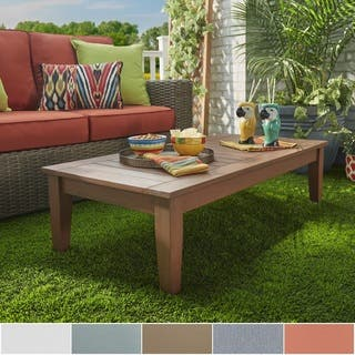 Yasawa Wood Brown Patio Cushioned Rectangular Coffee Table Ottoman Inspire Q Oasis