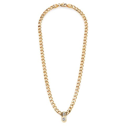 14K Yellow Gold 1ct TDW Curb Chain and Diamond Pendant Estate Necklace (H-I, SI1-SI2)