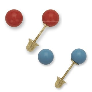 14k Yellow Gold Reconstructed Turquoise or Coral 5mm Screw-Back Stud Earrings