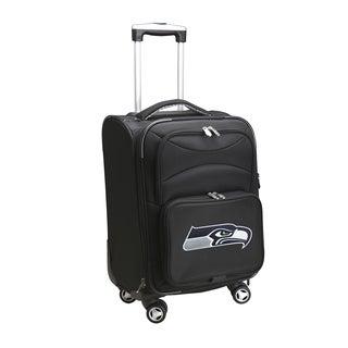 Denco Seattle Seahawks Black Nylon and Denim 20-inch Carry-on 8-wheel Spinner Suitcase