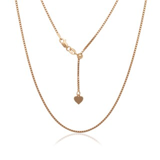 Italian Yellow or Rose Gold-plated Sterling Silver Adjustable 1.3mm 22-inch Box Chain