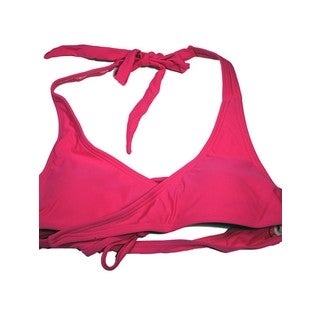 Women's Fuchsia Nylon and Spandex Wrap Halter Top
