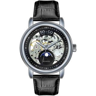SO&CO New York Men's Mechanical Skeleton Moon Phase Watch with Black Leather Strap
