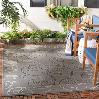 Safavieh Indoor/ Outdoor Courtyard Anthracite/ Light Grey Rug (3' x 5')