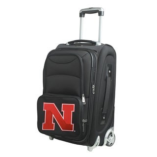 Denco Sports Nebraska Black Nylon 21-inch Carry-on Spinner Suitcase