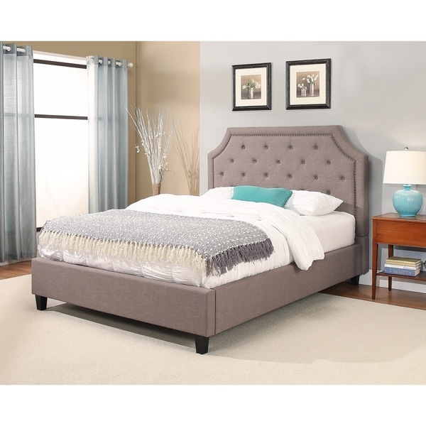 abbyson sierra nailhead trim upholstery platform bed - Upholstered Platform Bed Frame