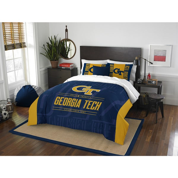 The Northwest Company Georgia Tech Blue/Yellow Polyester Full/Queen 3-piece Comforter Set