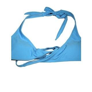 Women's Blue Wrap Halter Bikini Top