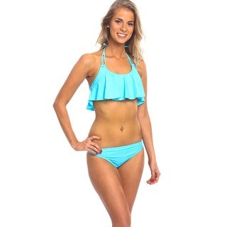 Women's Blue Spandex Hanky Bikini Top