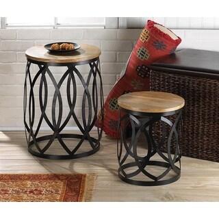 Howel Wood/Metal Intertwining Side Tables - Set of 2