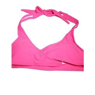 The Wrap Halter Top 'Pop Pink' Pink Spandex Bikini Top