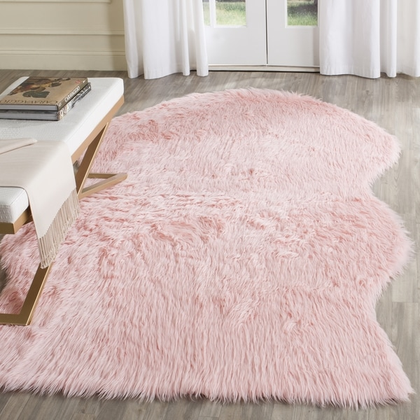 Safavieh Handmade Faux Sheepskin Pink Japanese Acrylic Rug